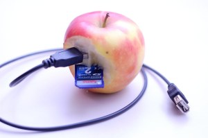 Apple with cable and SIM card